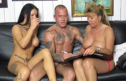 German Cougar teaches a young couple